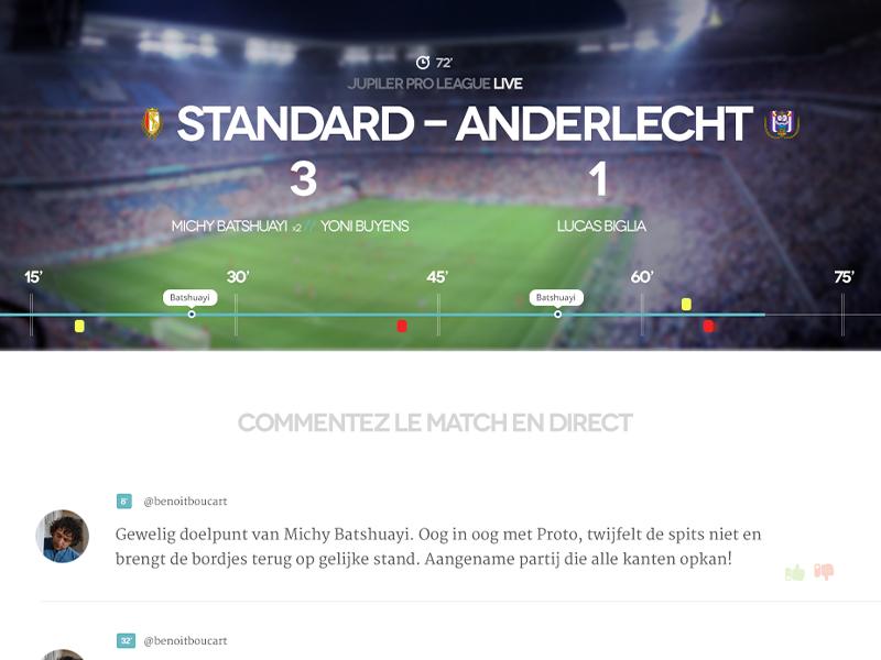 Live football timeline belgium ui modern ui website stadium sports real-time clean minimalism sport timeline football soccer webdesign live