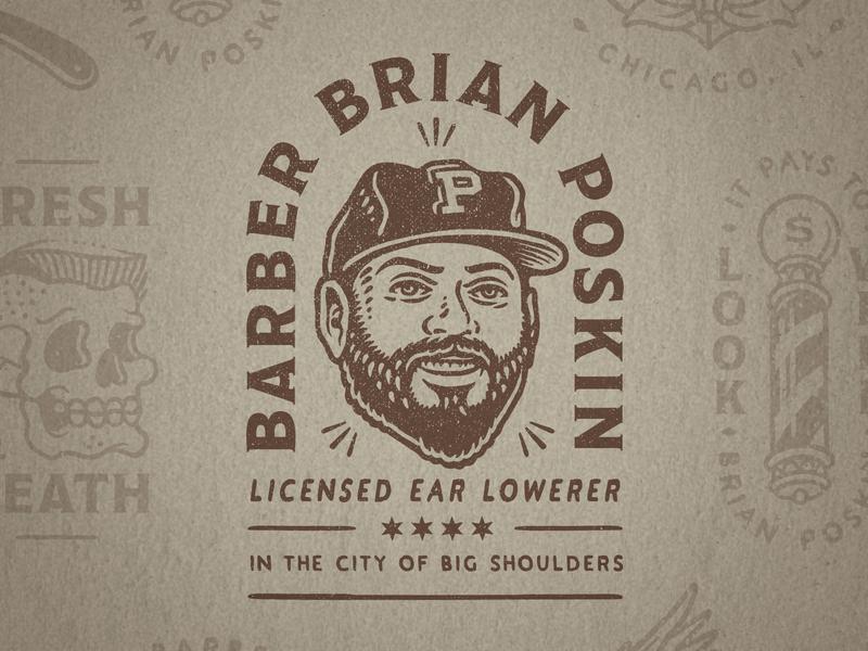 Barber Brian Poskin 1 baseball cap face arc badge illustration distressed vintage barber