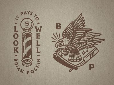 Barber Brian Poskin 2 straight razor razor badge illustration type distressed vintage flash tattoo eagle pole barber