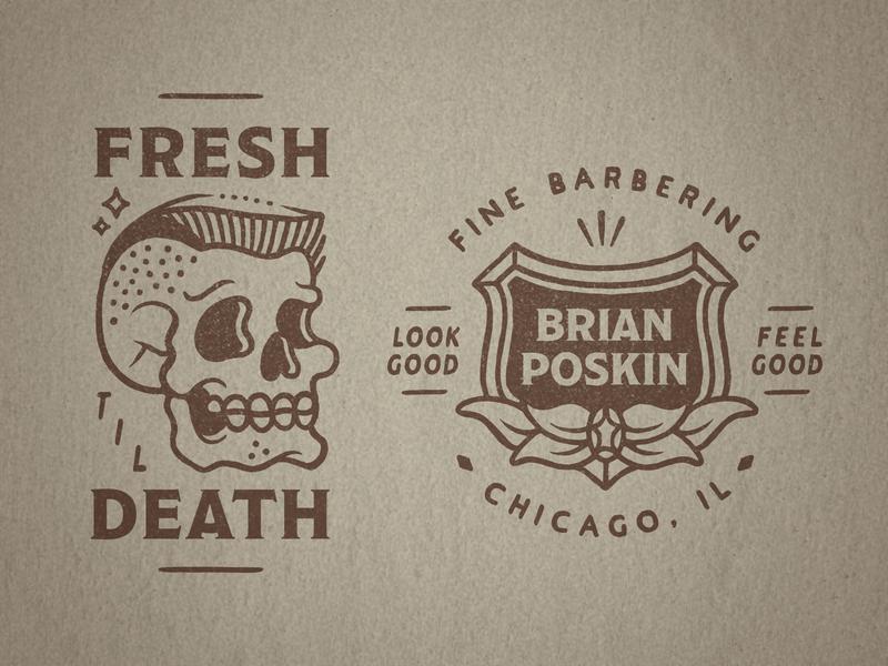 Barber Brian Poskin 3 illustration vintage type badge crest flash tattoo skull haircut flattop barber