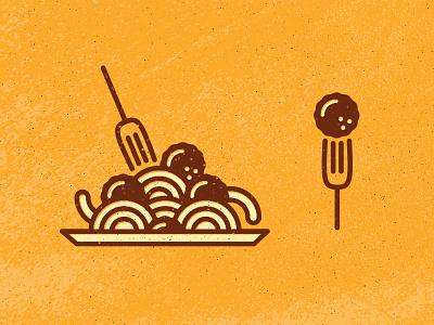 Meatballs texture grunge fork spaghetti pasta noodles meatball icon monoline