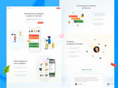 Inspire, motivate and celebrate your team's performance animation home page schedule task management reports insights remotework restaurant app competition data-driven badges communication audit checklist illustration gamification employee engagement website app timeline