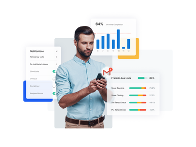 Custom Reporting Delivered to Your Inbox dashboad task management website ui composition app communication gamification employee engagement restaurants notifications checklist manager homepage design charts diagrams report gmail infographic webdesign