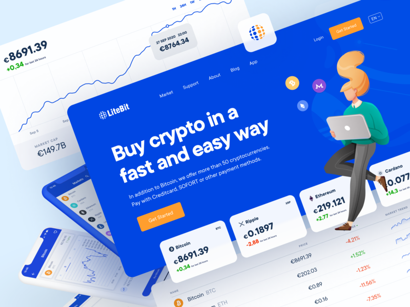 The Safe and Simple Way to Buy Crypto crypto wallet saas desktop application app ux design ui design landing page dashboard coin charts stats illustration ripple ethereum bitcon hero product design cryptocurrency crypto website