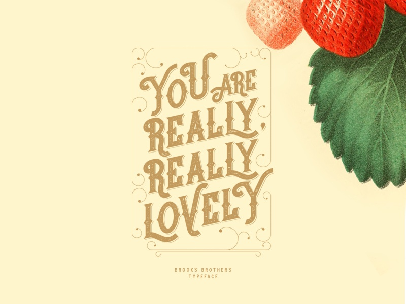 Brooks Brothers Typeface free strawberry poster graphicdesign type lettering label retro vintage typo lovely
