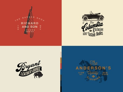 Vintage Logo Templates badge editable templates buffalo car barber wolf identity retro vintage logo