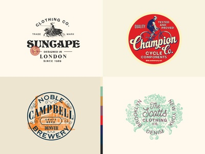 Vintage Logo Templates retro apparel design graphic t-shirt clothing templates cycling logo vintage