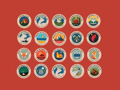 Outdoor Badges traveling travel vintage vector retro mountains advenures camps logos badges outdoor