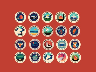 Outdoor Badges gradient identity patches badge logos retro vector vintage camping adventure outdoor traveling