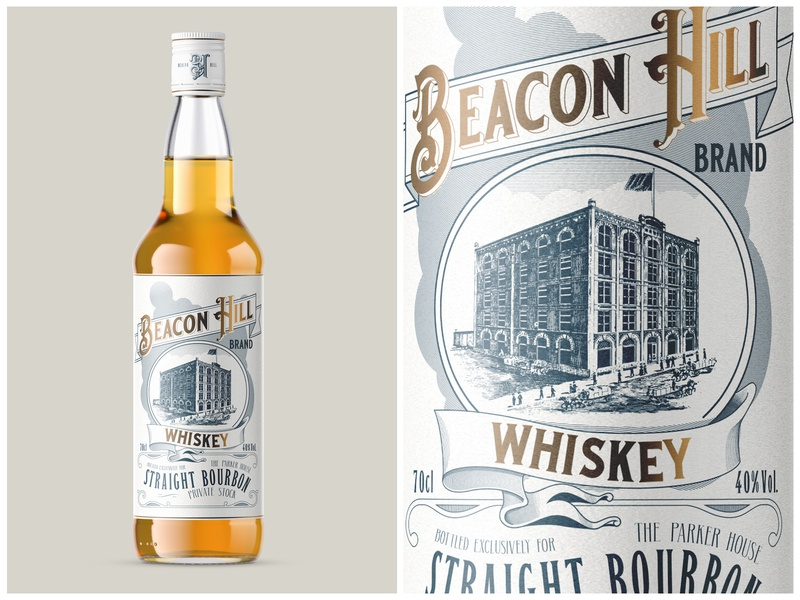 Beacon Hill Whiskey modern drawing typogaphy design victorian packaging vintage bourbon label whiskey