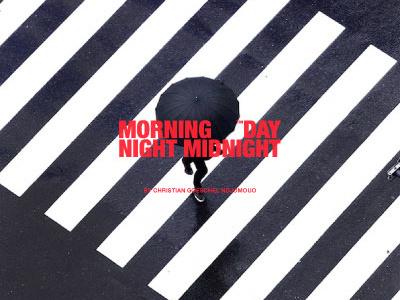 Morning Day Night Midnight street umbrella rain red white black fashion