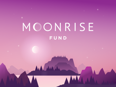 Moonrise fund design illustration creators logo fund glitch moonrise moon