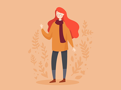 Sweater Weather head red orange leaves scarf sweater ginger autumn fall