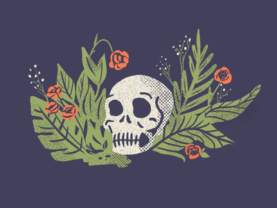 Goodbye Day of the Dead texture head dead halftone leaves flowers plants skull
