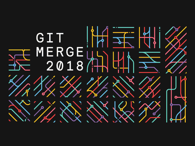 Git Merge 2018 branding event conference pattern lines merge git github