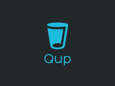 Qup Music App –Logo music note hidden logo qup blue logo cup water music