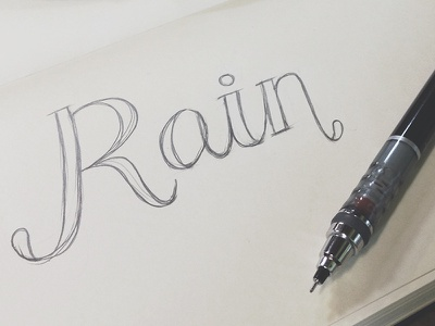 Rain ☂ rain typography hand lettering pencil sketch lettering moleskine