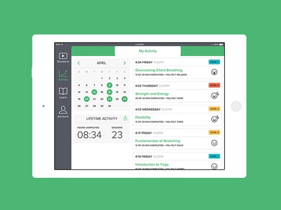 Yoga by Numbers – Activity Screen activity feed feed yoga by numbers yoga ios exercise app