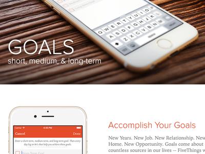 FiveThings Site Design goals app ios iowan old style proxima nova fivethings
