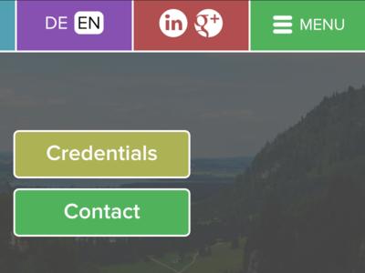 DE & EN menu hamburger navigation green red purple website proxima nova