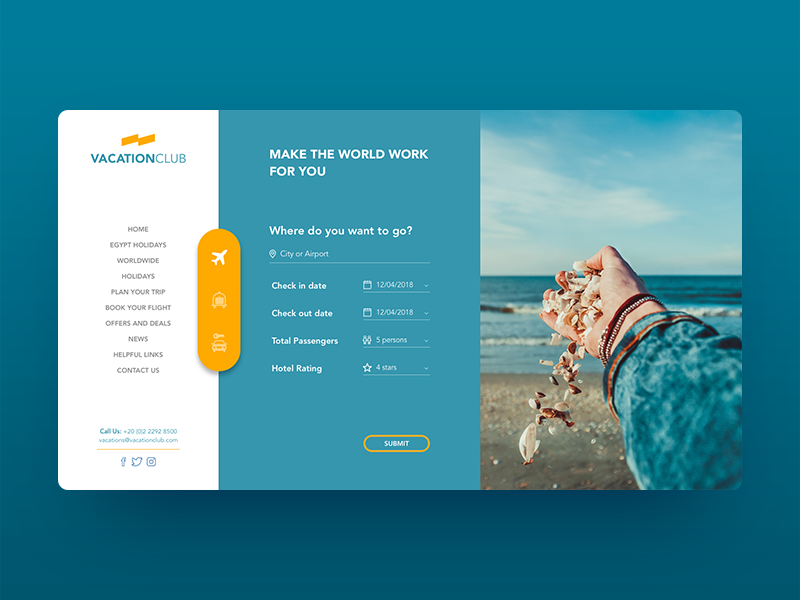 Vacation club Booking Concept interface interface design ui travel booking vacation blue concept ui website