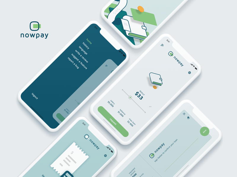 Nowpay App transaction minimal app payment money illustration logo ui