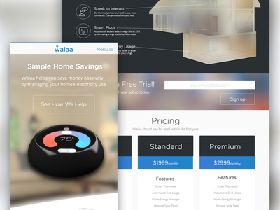 Energy Management Startup - Marketing Site web responsive thermostat flat marketing saas