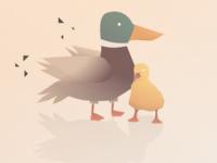 Cuddles family duckling duck illustration minimal