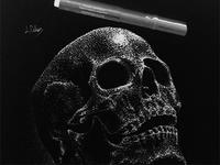 Negative skull using pointillism