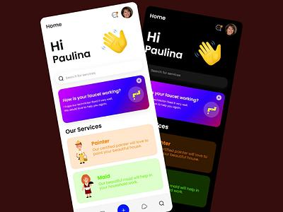 Service App UI service app ui dark ui modern ui mobile ui