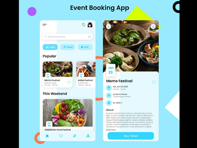 Event Booking App UI booking app ui minimal ui modern ui design trends simple ui mobile ui event booking app