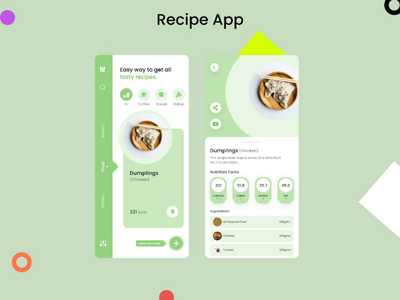 Recipe App UI modern ui trending ui trend green ui simple ui minimal design minimal ui recipe app ui mobile ui
