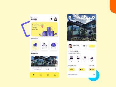 Housing App colorful ui yellow ui ui trend modern ui mobile ui housing app ui simple ui