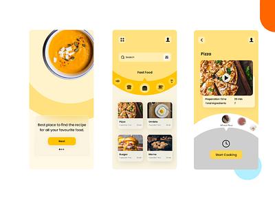 Recipe App circular design yellow ui minimal design modern ui daily ui ui trend simple ui recipe app ui