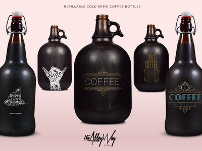 Cold Brew Coffee Bottles for Sweet Alley typography lettering branding trendy bold 3d black dark 2d packaging cold brew coffee