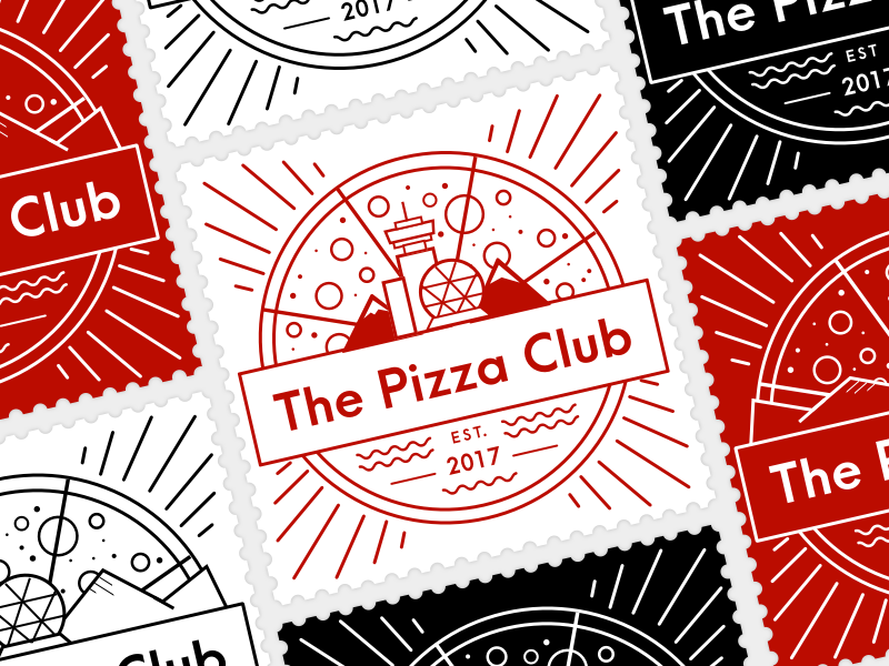 The Pizza Club vancouver postage stamp pizza branding vector design logo illustration