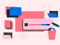 Reducing Digital Distractions files clean up trash declutter digital asana design line vector illustration