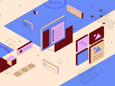 World of Asana work task isometric retro asana design line vector illustration