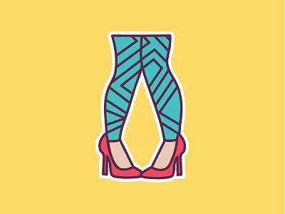 Leggings Sticker sticker heels pattern tights leggings vector illustration icon