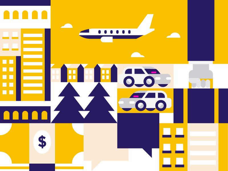 Business Travel icon ride travel plane geometric illustration business rideshare car lyft