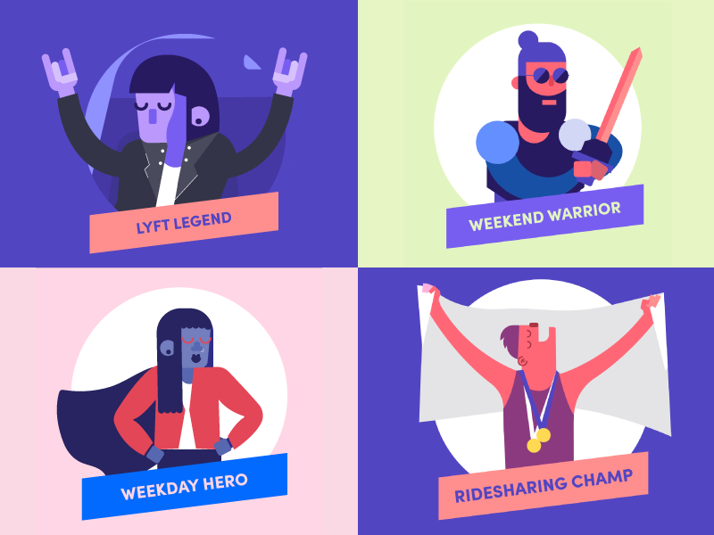 Lyft Lookback color lyft year in review icon illustration person people character