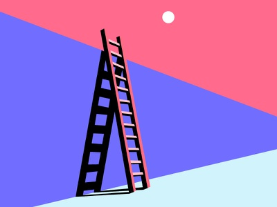 Over the wall wall climb illustration shadow color stairs ladder