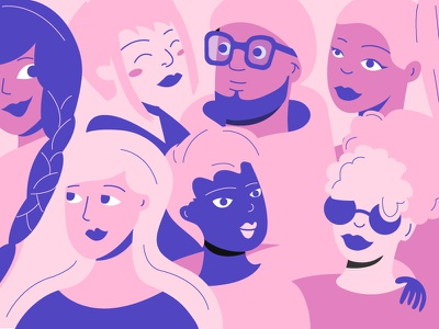 Community diversity inclusion community illustration character pink women rideshare car lyft