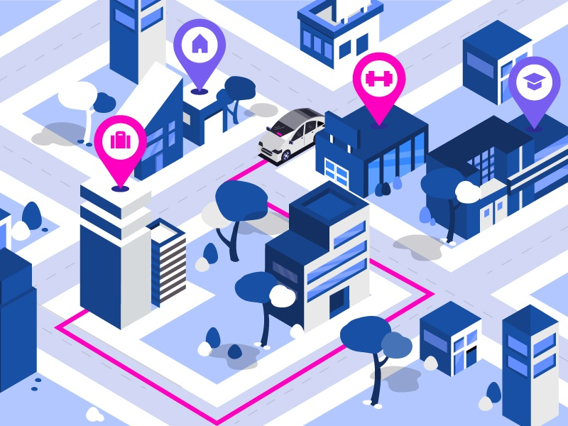 Routes city isometric gym work home commute route rideshare car lyft