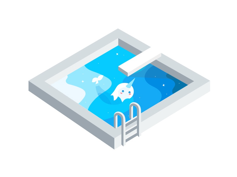 Jumpin Off The Whal magical illustration cute sticker swimming pool asana narhwal