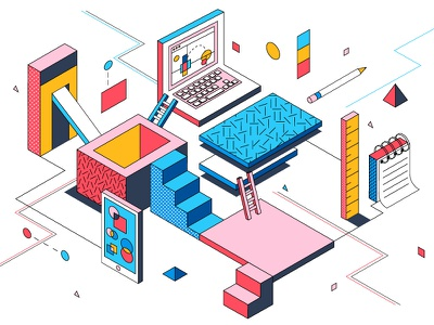 Creating a Design System shape design systems visual metaphor illustration conceptual system isometric design asana