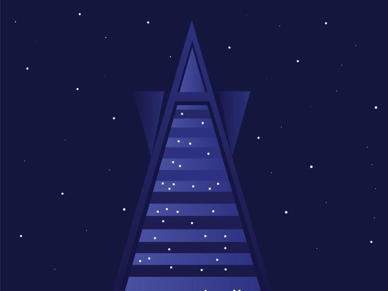 Asana-Rama building geometric holiday party holiday sf san francisco design illustration
