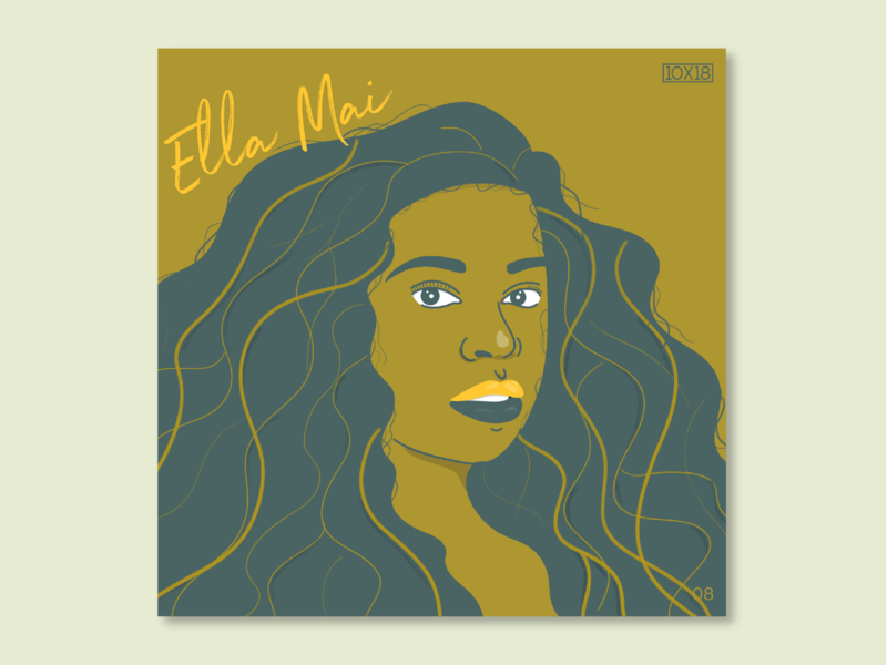 10X18 – 8. Ella Mai, Ella Mai black woman curly hair character illustration rb woman women ella mai portrait album art album music 10x18