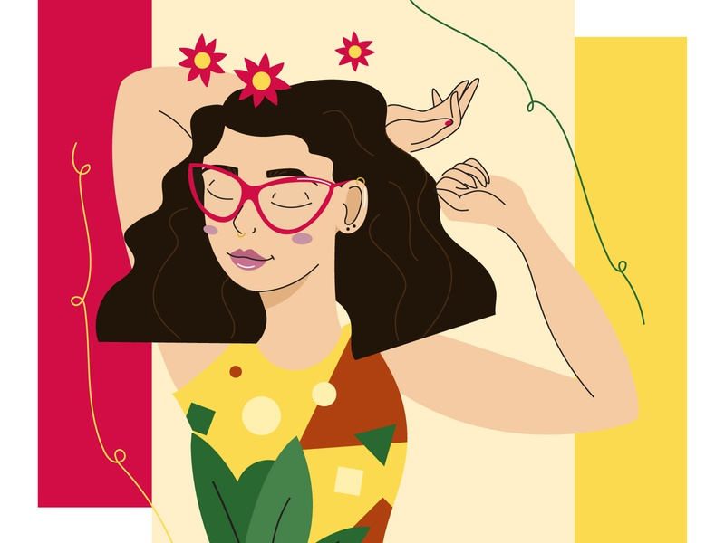 Carefree chic women illustration carefree girl line flat design character