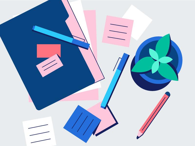 Cluttered Desk infographic burnout cluttered desk workload design asana line vector illustration